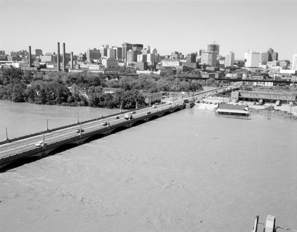 James River and 14th Street bridge looking toward the central business district after Camille